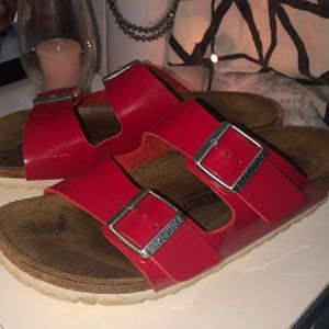 Candy Apple Red Birkenstocks in the size 38